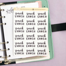 Load image into Gallery viewer, Pack lunches script planner stickers lettering monochrome large size hand lettered great for bullet journal