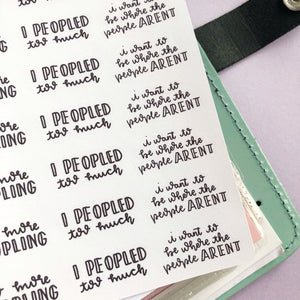 Peopled too much introvert script planner stickers lettering monochrome large size hand lettered
