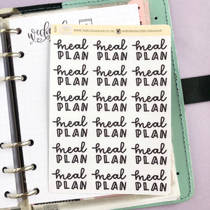 Foil Meal plan script planner stickers lettering large size hand lettered great for bullet journal