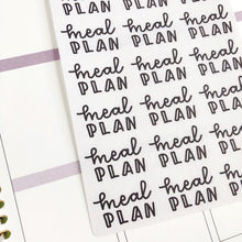 Load image into Gallery viewer, Meal plan script planner stickers lettering monochrome large size hand lettered great for bullet journal