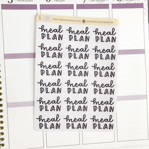 Meal plan script planner stickers lettering monochrome large size hand lettered great for bullet journal