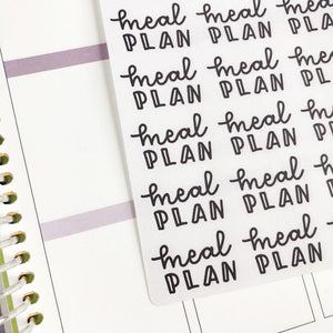 Meal plan script planner stickers lettering monochrome large size hand lettered