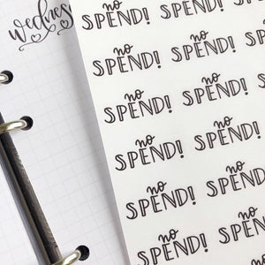 No spend script planner stickers lettering monochrome large size hand lettered great for bullet journal