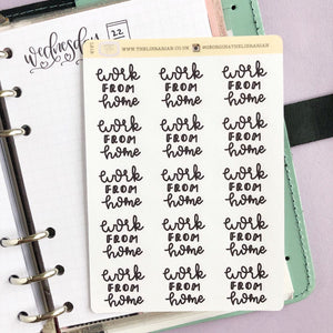 Work from home script planner stickers lettering monochrome large size hand lettered great for bullet journal