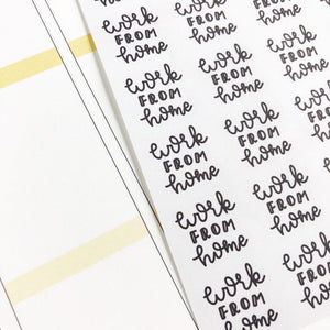 Work from home script planner stickers lettering monochrome small size hand lettered