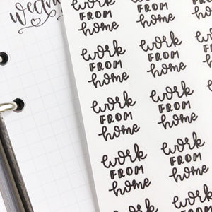 Work from home script planner stickers lettering monochrome small size hand lettered great for bullet journal