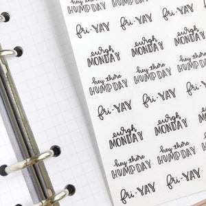 Working week dismay to fri yay script planner stickers lettering monochrome small size hand lettered great for bullet journal