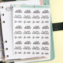 Load image into Gallery viewer, Foil Working week dismay to fri yay script planner stickers letteringmall size hand lettered