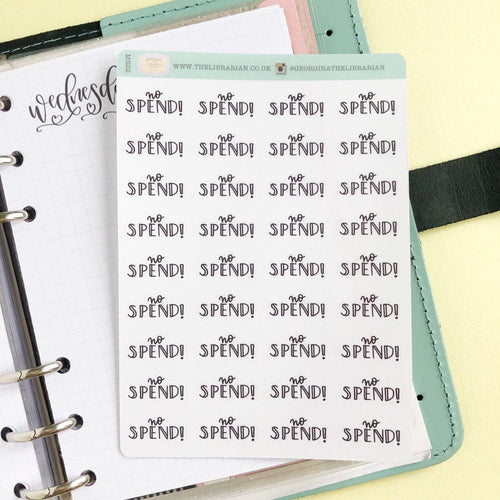 No spend script planner stickers lettering monochrome small size hand lettered great for bullet journal