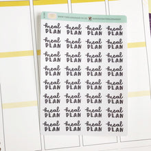 Load image into Gallery viewer, Meal plan script planner stickers lettering monochrome small size hand lettered great for bullet journal