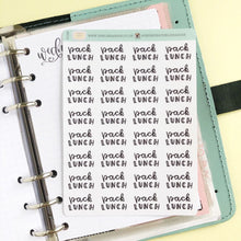 Load image into Gallery viewer, Foil Pack lunches script planner stickers lettering small size hand lettered