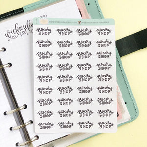 Grocery Shop script planner stickers lettering monochrome small size hand lettered great for bullet journal