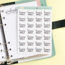Load image into Gallery viewer, Happy Mail script planner stickers lettering monochrome small size hand lettered