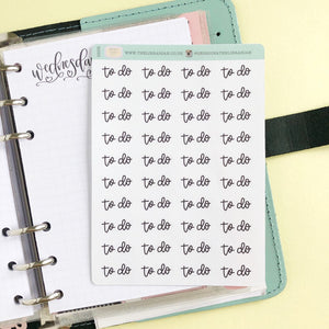 To Do small hand lettered script planner stickers