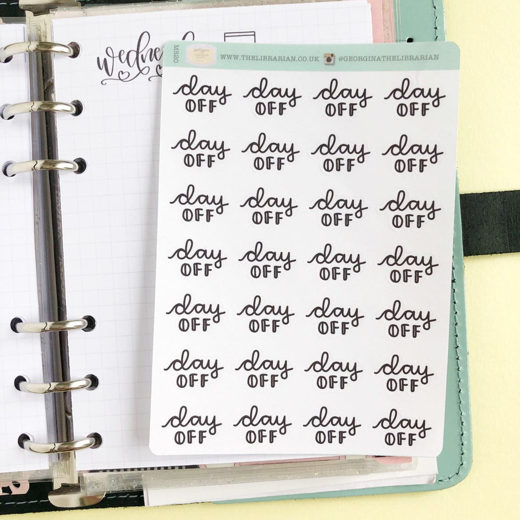 Day off script planner stickers lettering monochrome small size hand lettered great for bullet journal