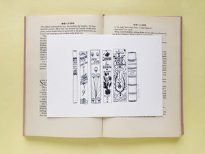 Classic Victorian Novels Book Spine Ink Drawing Art print in Monochrome