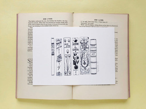 Classic Victorian Novels Book Spine Ink Drawing Art print