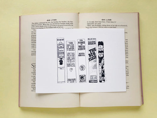 Classic Detectives Novels Book Spine Ink Drawing Art print
