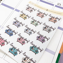 Load image into Gallery viewer, Lazy Day Sofa/Couch Hand Drawn Planner Stickers in pastel light colours