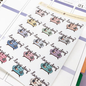 Lazy Day Sofa/Couch Hand Drawn Planner Stickers in pastel light colours