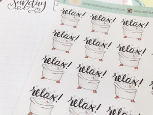 Small Bubble Bath Planner Sticker hand drawn relaxation and me time stickers with hand lettering