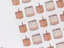 Load image into Gallery viewer, Happy Birthday Cake hand drawn Planner stickers  celebrations and parties in large