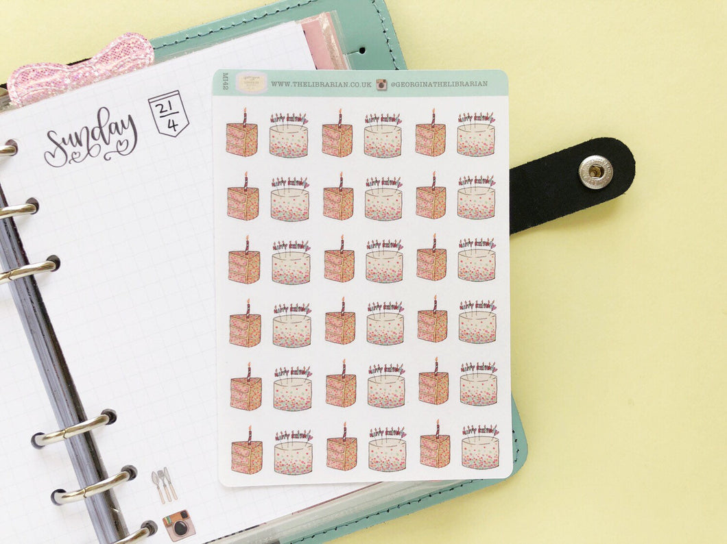 Small Happy Birthday Cake hand drawn Planner stickers  celebrations and parties