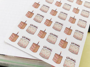 Small Happy Birthday Cake hand drawn Planner stickers for celebrations and parties