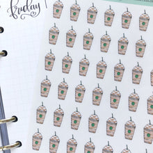 Load image into Gallery viewer, Frapuccino Iced Coffee Hand Drawn Planner Stickers,Perfect for Erin Condren, Happy Planner, Kikki K, Plum Paper, Filofax, inkwell press