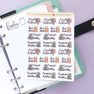 Visit the library Hand Drawn Planner Stickers renew book reserve books large vintage style icons