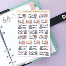 Load image into Gallery viewer, Visit the library Hand Drawn large vintage style icon Planner Stickers