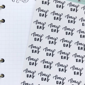 Pay Day script planner stickers lettering monochrome mini size labels