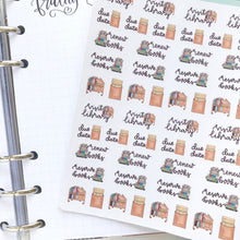 Load image into Gallery viewer, Visit the library Hand Drawn Planner Stickers renew book reserve books small vintage style icons