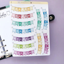 Load image into Gallery viewer, Multi-Coloured Weekend Banner Planner Stickers, Perfect for Erin Condren, Plum Paper, inkwell press, Happy Planner