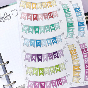 Multi-Coloured Weekend Banner Planner Stickers, Perfect for Erin Condren, Plum Paper, inkwell press, Happy Planner