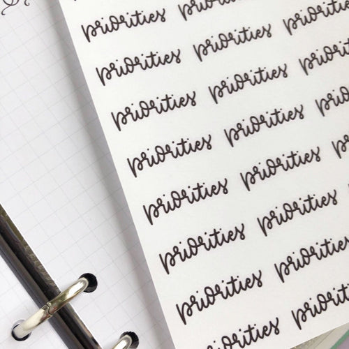 Priorities script planner stickers lettering monochrome large size hand lettered