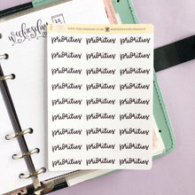 Load image into Gallery viewer, Foil Priorities script planner stickers lettering large size hand lettered