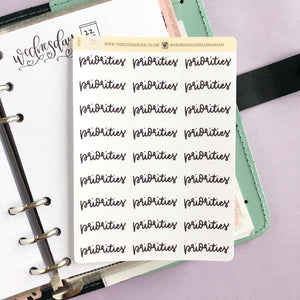 Foil Priorities script planner stickers lettering large size hand lettered