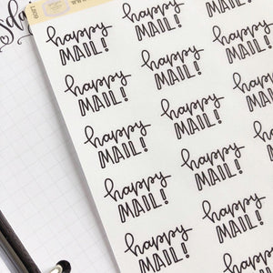 Happy Mail script planner stickers lettering monochrome large size hand lettered great for bullet journal