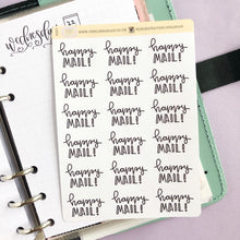 Load image into Gallery viewer, Happy Mail script planner stickers lettering monochrome large size hand lettered