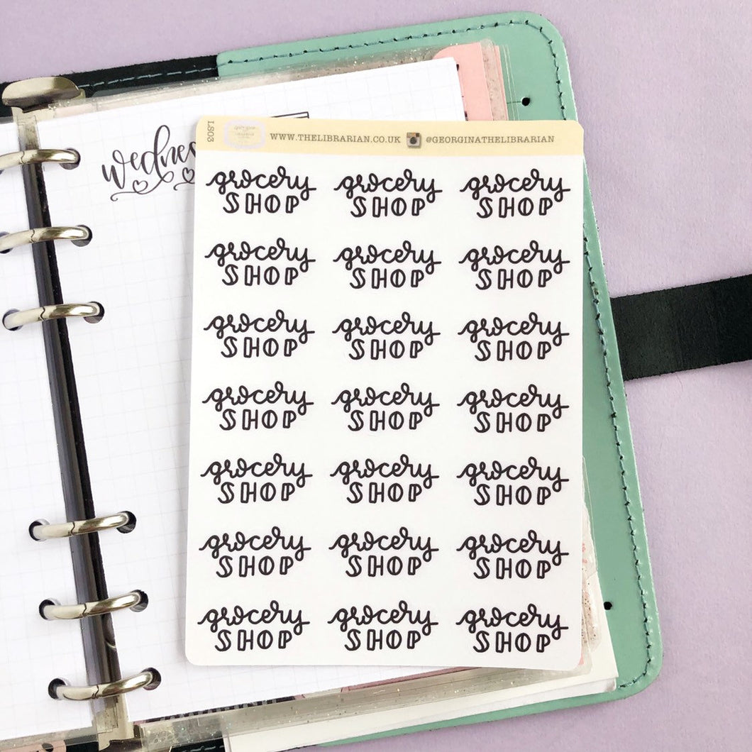 Grocery Shop script planner stickers lettering monochrome large size hand lettered