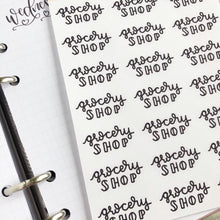 Load image into Gallery viewer, Grocery Shop script planner stickers lettering monochrome large size hand lettered great for bullet journal