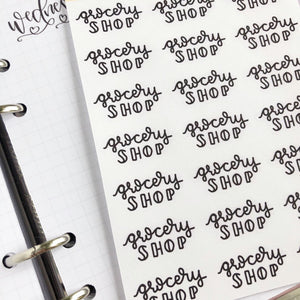 Grocery Shop script planner stickers lettering monochrome large size hand lettered great for bullet journal
