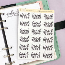 Load image into Gallery viewer, Big food Shop script planner stickers lettering monochrome large size hand lettered great for bullet journal