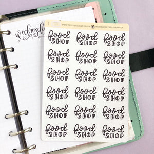 Big food Shop script planner stickers lettering monochrome large size hand lettered