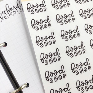 Big food Shop script planner stickers lettering monochrome large size hand lettered great for bullet journal