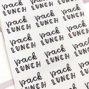 Pack lunches script planner stickers lettering monochrome large size hand lettered great for bullet journal