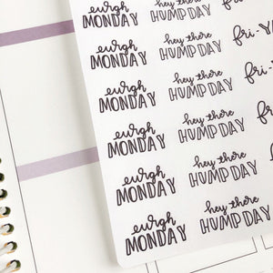 Working week dismay to fri yay script planner stickers lettering monochrome large size hand lettered great for bullet journal