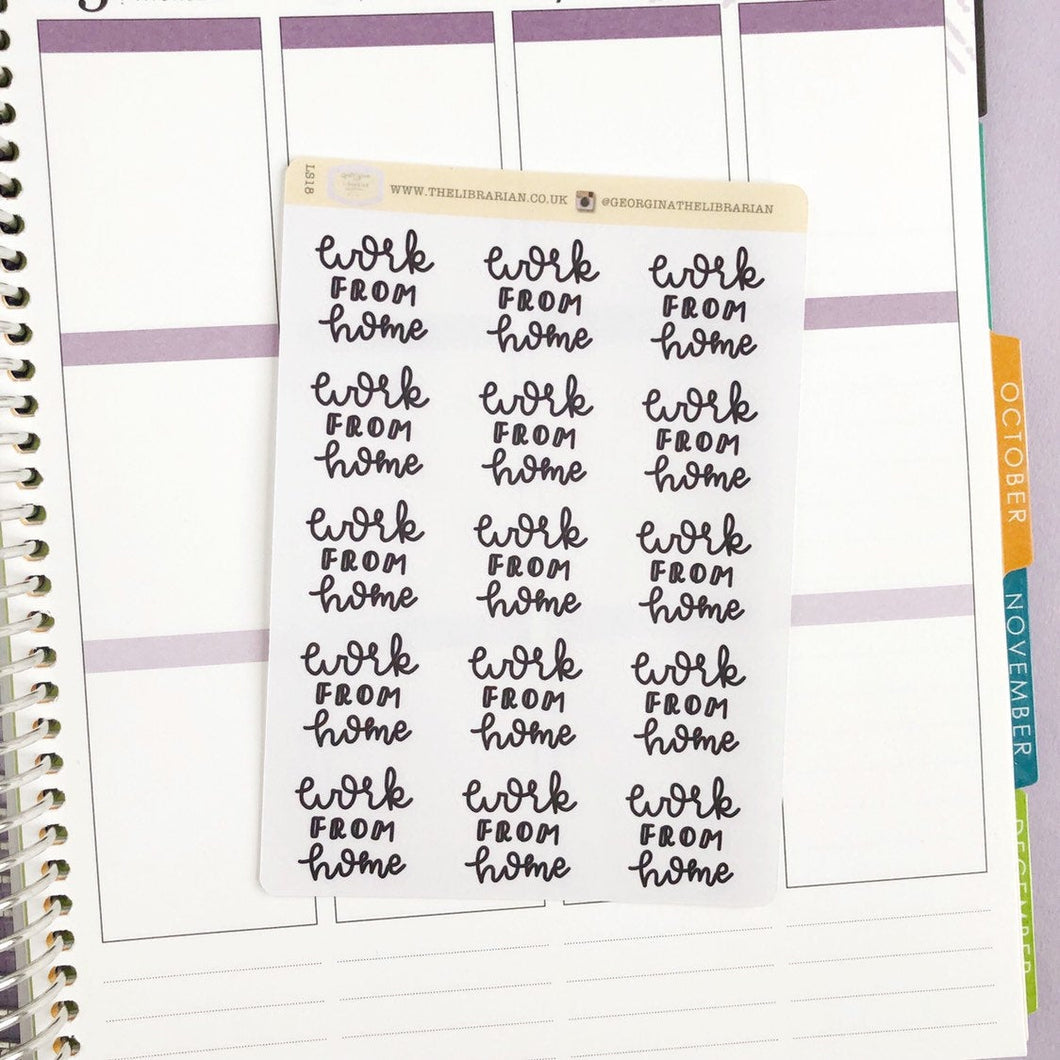 Work from home script large size hand lettered planner stickers