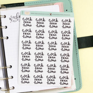 Foil Work from home script planner stickers lettering small size hand lettered great for bullet journal